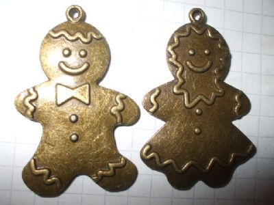 Bronze GINGERBREADMAN and GINGERBREADWOMAN Charms